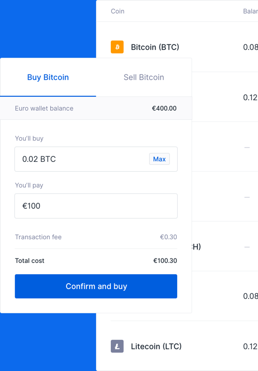 Illustration of the buy web interface